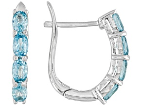 Blue Zircon Sterling Silver Hoop Earrings 2.80ctw