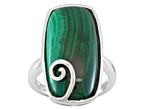 Green malachite rhodium over sterling silver solitaire ring