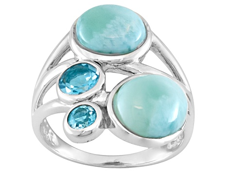 Blue Larimar Sterling Silver Ring .73ctw