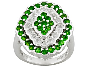 Green Chrome Diopside And White Topaz Sterling Silver Ring 2.94ctw