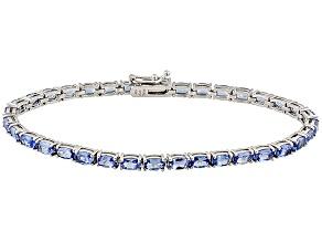 Blue Tanzanite Sterling Silver Tennis Bracelet 7.70ctw