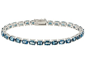 London Blue Topaz Rhodium Over Sterling Silver Tennis Bracelet 16.53ctw