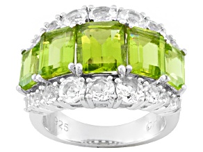 Green Peridot And White Topaz Sterling Silver Ring 5.38ctw
