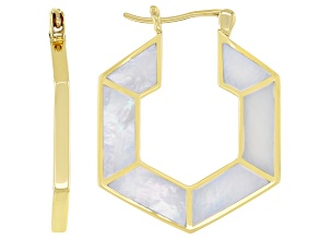 White Mother-Of-Pearl 18k Yellow Over Silver Hoop Earrings