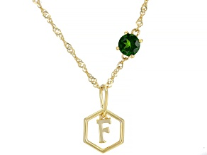 Green Chrome Diopside 18k Yellow Gold Over Silver 'F' Pendant With Chain .47ct