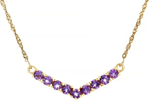 Purple Amethyst 18k Yellow Gold Over Silver Necklace 2.06ctw