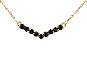 Black Spinel 18k Yellow Gold Over Sterling Silver Chevron Necklace 2.44ctw