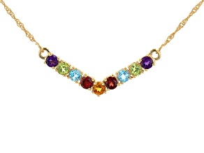 Multi-Gemstone 18k Yellow Gold Over Sterling Silver Necklace 2.27ctw