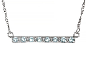 Lab Created Green Spinel Rhodium Over Sterling Silver Bar Necklace 0.95ctw