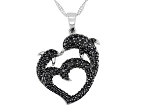 Black Spinel Rhodium Over Sterling Silver Dolphins Pendant with Chain 1.83ctw