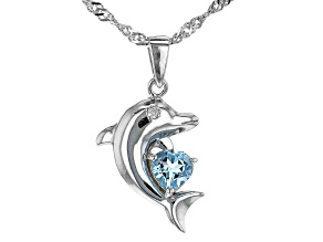 Blue Topaz Rhodium Over Silver Pendant With Chain 0.43ctw