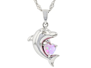 Pink Lab Created Opal Rhodium Over Silver Dolphin Pendant with Chain 0.01ct