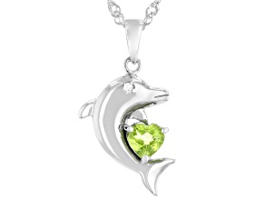 Manchurian Peridot™ Rhodium Over Silver Dolphin Pendant with Chain 0.44ctw