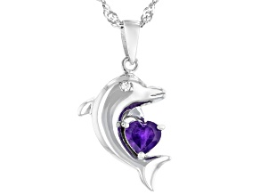African Amethyst Rhodium Over Silver Dolphin Pendant with Chain 0.37ctw