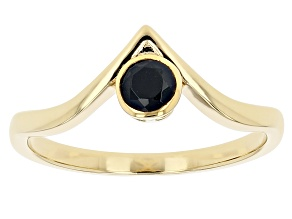 Black Spinel 18K Yellow Gold Over Sterling Silver Ring 0.34ctw