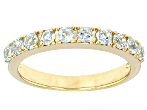 Sky Blue Topaz 18k Yellow Gold Over Sterling Silver Band Ring 0.59ctw