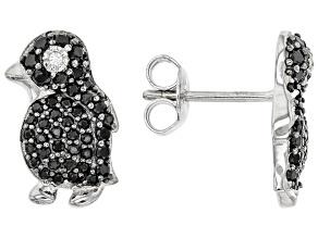 Black Spinel Rhodium Over Sterling Silver Penguin Earrings .67ctw