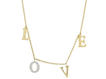 "Picture of White Zircon 18K Yellow Gold Over Sterling Silver ""LOVE"" Necklace 0.43ctw"