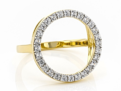 White Zircon 18K Yellow Gold Over Sterling Silver Circle Ring .50ctw