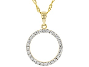 White Zircon 18K Yellow Gold Over Sterling Silver Circle Pendant With Chain .50ctw