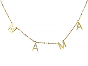 White Zircon 18k Yellow Gold Over Silver Mama Necklace 0.04ctw