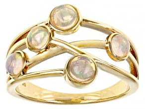 Multicolor Ethiopian Opal 18k Yellow Gold Over Sterling Silver Ring 0.75ctw