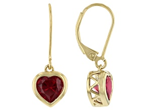 Red Lab Created Ruby 18k Yellow Gold Over Sterling Silver Dangle Earrings 2.80ctw
