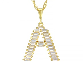 "White Lab Created Sapphire 18k Yellow Gold Over  Silver Initial ""A"" Pendant With Chain 1.26ctw"