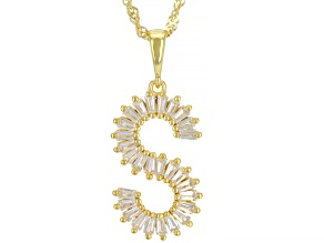 """White Lab Created Sapphire 18k Yellow Gold Over Silver Initial """"S"""" Pendant With Chain 1.05ctw"""