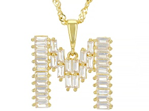 """White Lab Created Sapphire 18k Yellow Gold Over Silver Initial """"M"""" Pendant With Chain 1.76ctw"""