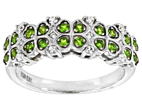 Green Chrome Diopside Rhodium Over Silver Band Ring 0.32ctw