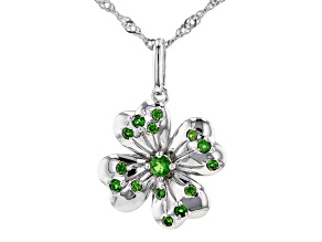 Green Chrome Diopside Rhodium Over Silver Four Leaf Clover Pendant With Chain 0.30ctw