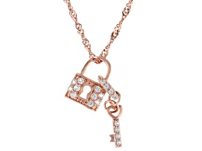White Lab Created Sapphire 18k Rose Gold Over Silver Key & Locket Pendant With Chain .28ctw