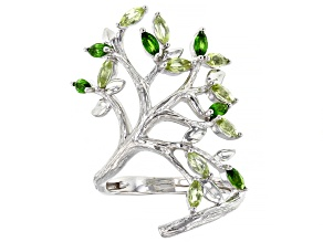 Green Chrome Diopside Rhodium Over Sterling Silver Tree Of Life Ring 1.26ctw