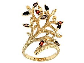 Yellow Citrine 18k Yellow Gold Over Sterling Silver Tree of Life Ring 1.03ctw