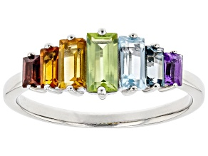 Rainbow Multi-Gemstone Rhodium Over Sterling Silver ring 1.14ctw