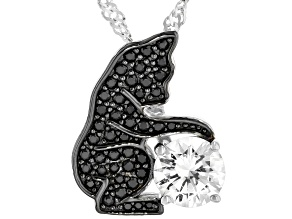 Black Spinel Rhodium Over Silver Cat Pendant with Chain 1.70ctw