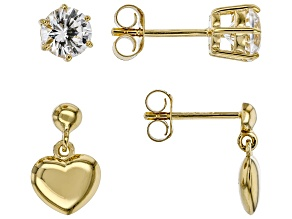 White Lab Created Sapphire 18k Yellow Gold Over Sterling Silver Earring Set of 2 1.70ctw