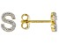 """White Lab Created Sapphire 18k Yellow Gold Over Sterling Silver """"S"""" Initial Studs. 0.17ctw"""