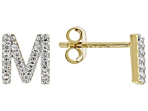 "White Lab Created Sapphire 18k Yellow Gold Over Sterling Silver ""S"" Initial Studs. 0.21ctw"