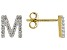 """White Lab Created Sapphire 18k Yellow Gold Over Sterling Silver """"S"""" Initial Studs. 0.21ctw"""