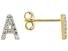"White Lab Created Sapphire 18k Yellow Gold Over Sterling Silver ""A"" Initial Studs. 0.14ctw"