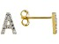 """White Lab Created Sapphire 18k Yellow Gold Over Sterling Silver """"A"""" Initial Studs. 0.14ctw"""