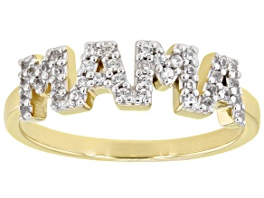 """White Zircon 18k Yellow Gold Over Sterling Silver """"Mama"""" Ring 0.24ctw"""