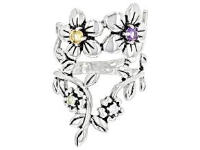Multi-Color Multi-Gemstone Sterling Silver Flower Ring 0.25ctw