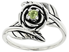Green Peridot Sterling Silver Flower Bypass Ring 0.11ct
