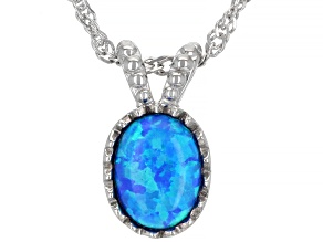 Blue Lab Created Opal Rhodium Over Sterling Silver Pendant with Chain