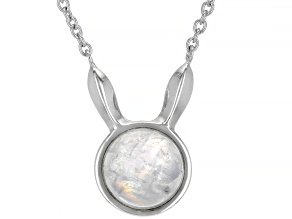 Round Rainbow Moonstone Rhodium Over Sterling Silver Bunny Necklace