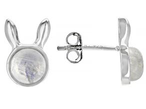 Rainbow Moonstone Rhodium Over Sterling Silver Bunny Stud Earrings