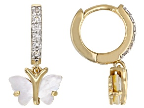 White Mother-of-Pearl 18k Yellow Gold Over Sterling Silver Butterfly Earrings 0.28ctw